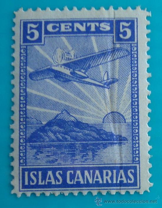SELLO VIÑETA ISLAS CANARIAS 5 CENTS, NUEVO CON GOMA (Sellos - España - Guerra Civil - De 1.936 a 1.939 - Nuevos)