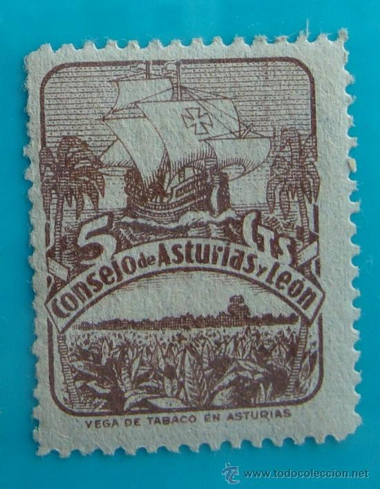 SELLO VIÑETA CONSEJO DE ASTURIAS Y LEON 5 CTS NUMERADO AL DORSO, NUEVO CON GOMA (Sellos - España - Guerra Civil - De 1.936 a 1.939 - Nuevos)