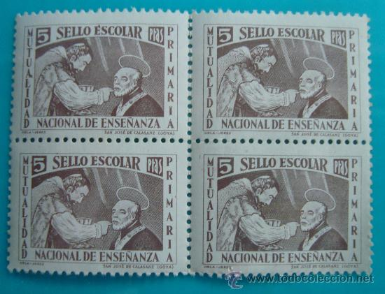 BLOQUE DE 4 VIÑETA SELLO DE 5 PESETAS ESCOLAR MUTUALIDAD PRIMARIA DE ENSEÑANZA, NUEVO CON GOMA (Sellos - España - Guerra Civil - De 1.936 a 1.939 - Nuevos)
