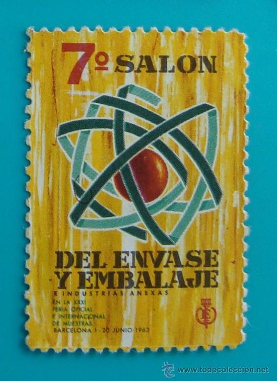 VIÑETA SELLO 7º SALON DEL ENVASE Y EMBALAJE BARCELONA 1963 - NUEVO SIN GOMA (Sellos - España - Guerra Civil - De 1.936 a 1.939 - Nuevos)