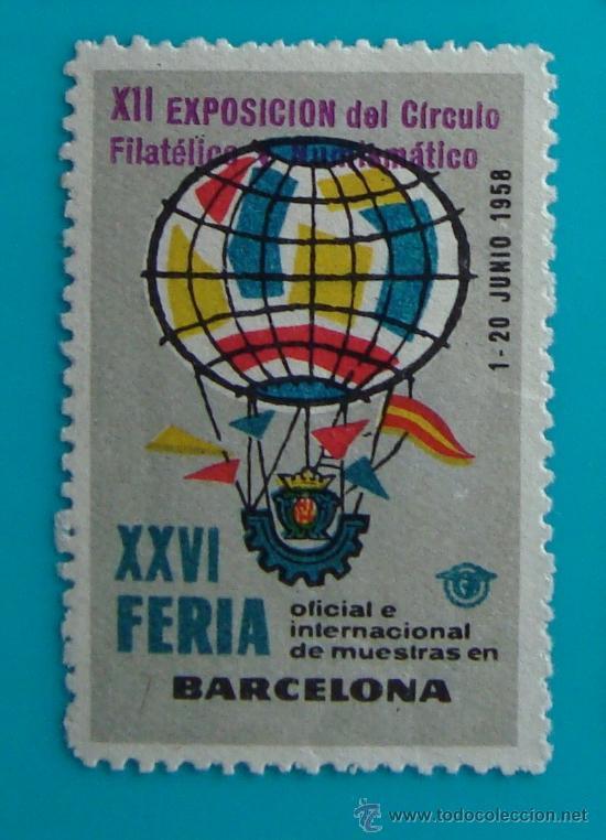 VIÑETA SELLO XXVI FERIA OFICIAL E INTERNACIONAL DE MUESTRAS EN BARCELONA 1958 - NUEVO CON GOMA (Sellos - España - Guerra Civil - De 1.936 a 1.939 - Nuevos)