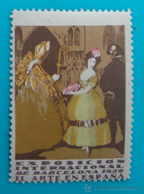 VIÑETA SELLO EXPOSICION INTERNACIONAL BARCELONA 1929 EL ARTE EN ESPAÑA - NUEVO CON GOMA (Sellos - España - Guerra Civil - De 1.936 a 1.939 - Nuevos)