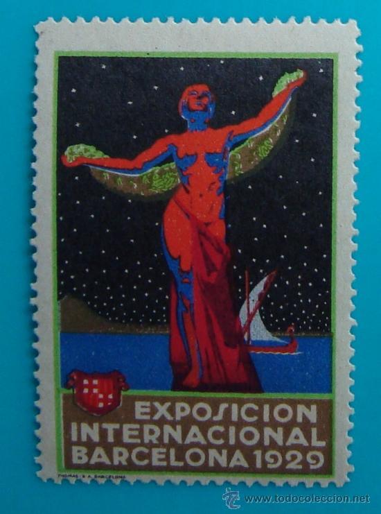 VIÑETA SELLO EXPOSICION INTERNACIONAL BARCELONA 1929 - NUEVO CON GOMA (Sellos - España - Guerra Civil - De 1.936 a 1.939 - Nuevos)