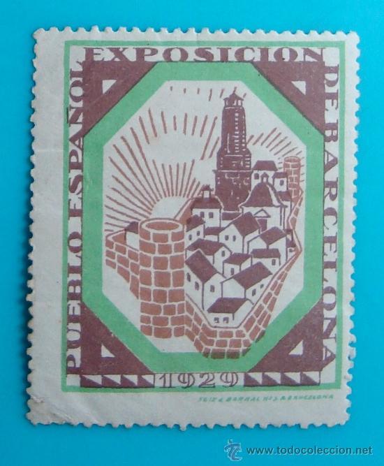VIÑETA SELLO EXPOSICION INTERNACIONAL PUEBLO ESPAÑOL BARCELONA 1929, NUEVO CON GOMA (Sellos - España - Guerra Civil - De 1.936 a 1.939 - Nuevos)