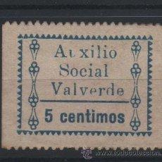 Sellos: VALVERDE, HUELVA, AUXILIO SOCIAL, 5 CTS.AZUL. Lote 37236901