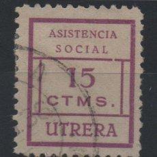 Sellos: UTRERA, SEVILLA, ASISTENCIA SOCIAL, 15 CTMS.LILA, RARO. Lote 37236982