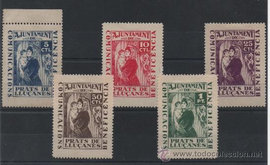 PRATS DE LLUCANES, BENEFICIENCIA, CON CHARNELA, SERIE COMPLETA (Sellos - España - Guerra Civil - Locales - Nuevos)