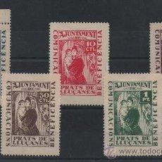 Sellos: PRATS DE LLUCANES, BENEFICIENCIA, CON CHARNELA, SERIE COMPLETA. Lote 37337109