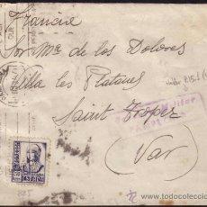 Sellos: ESPAÑA. (CAT. 825). 1937. SOBRE DE PAMPLONA A FRANCIA. 50 CTS. MARCA CENSURA DE PAMPLONA. BONITA.. Lote 37476957
