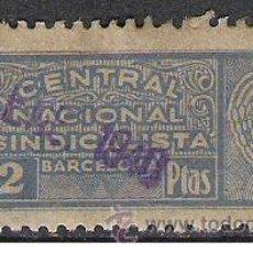 Sellos: 0403-SELLO GUERRA CIVIL C.N.S BARCELONA 2 PESETAS SINDICATO.CENTRAL NACIONAL SINDICALISTA SPAIN CIVI. Lote 37501390