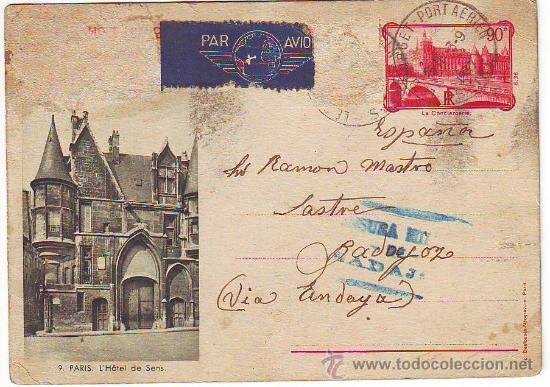 TARJETA POSTAL CENSURA MILITAR DE BADAJOZ (Sellos - España - Guerra Civil - De 1.936 a 1.939 - Cartas)