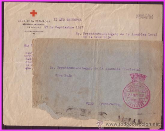 1937 CARTA COMPLETA DE ZARAGOZA A VIGO, CON FRANQUICIA DE LA CRUZ ROJA (O) RARA (Sellos - España - Guerra Civil - De 1.936 a 1.939 - Cartas)