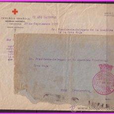 Sellos: 1937 CARTA COMPLETA DE ZARAGOZA A VIGO, CON FRANQUICIA DE LA CRUZ ROJA (O) RARA. Lote 37974085