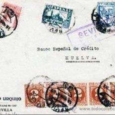 Sellos: 1937.-FRONTAL CIRCULADO DEL BCO. URQUIJO SEVILLA A BCO. ESPAÑOL DE CREDITO DE HUELVA. CON CENSURA MI. Lote 38292885