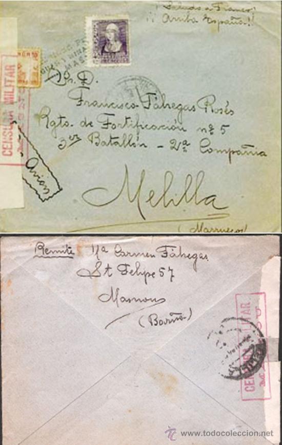 1939.- CARTA CORREO AEREO DE MASNOU A MELILLA, ETIQUETA Y CENSURA MILITAR, MARCA DE AGUAS Y MINAS. (Sellos - España - Guerra Civil - De 1.936 a 1.939 - Cartas)