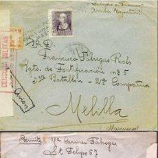 Sellos: 1939.- CARTA CORREO AEREO DE MASNOU A MELILLA, ETIQUETA Y CENSURA MILITAR, MARCA DE AGUAS Y MINAS.. Lote 38293015