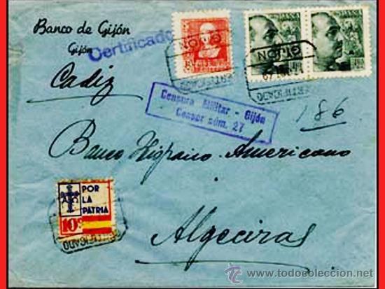 1939.-CARTA CERTIFICADA DEL BCO. DE GIJON A ALGECIRAS, CON 3 SELLOS Y 1 BENEFICO DE ASTURIAS. (Sellos - España - Guerra Civil - De 1.936 a 1.939 - Cartas)