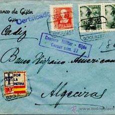 Sellos: 1939.-CARTA CERTIFICADA DEL BCO. DE GIJON A ALGECIRAS, CON 3 SELLOS Y 1 BENEFICO DE ASTURIAS.. Lote 38293140