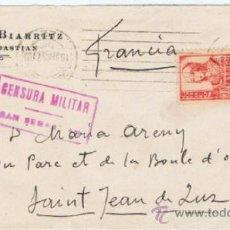 Francobolli: CIRCULADO 1937 HOTEL BIARRITZ SAN SEBASTIAN A SANT JEAN DE LUZ CENSURA MILITAR Y MATASELLO D LLEGADA. Lote 39013782