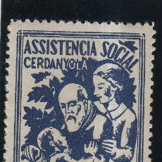 Sellos: VIÑETA. GUERRA CIVIL ESPAÑA. ASISTENCIA SOCIAL. CERDANYOLA (BARCELONA). CHARNELA. Lote 39034369