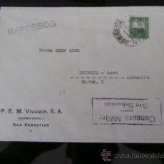 Sellos: CIRCULADO 1937 DE SAN SEBASTIAN A LEIPZIG ALEMANIA CON CENSURA MILITAR . Lote 39014054