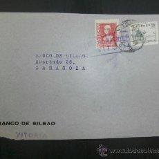 Sellos: FRONTAL CIRCULADO 1937 DE VITORIA A ZARAGOZA CON CENSURA MILITAR Y MEMBRETE BANCO DE BILBAO. Lote 39014721