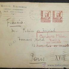 Sellos: CIRCULADO 1938 HOTEL BIARRITZ D SAN SEBASTIAN A PARIS CON CENSURA MILITAR . Lote 39015012
