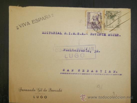 CIRCULADO 1938 DE LUGO A SAN SEBASTIAN CON CENSURA MILITAR (Sellos - España - Guerra Civil - De 1.936 a 1.939 - Cartas)