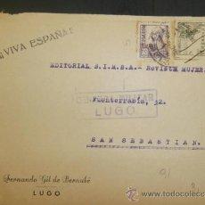 Sellos: CIRCULADO 1938 DE LUGO A SAN SEBASTIAN CON CENSURA MILITAR . Lote 39015077