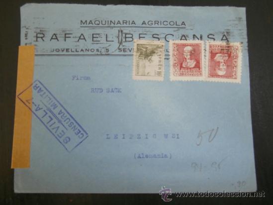 CIRCULADO 1938 DE SEVILLA A LEIPZIG ALEMANIA CON CENSURA MILITAR (Sellos - España - Guerra Civil - De 1.936 a 1.939 - Cartas)