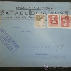 Sellos: CIRCULADO 1938 DE SEVILLA A LEIPZIG ALEMANIA CON CENSURA MILITAR . Lote 39015871