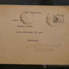 Sellos: CIRCULADO 1939 DE BARCELONA A ARRECIFE CANARIAS CON CENSURA MILITAR . Lote 39017355