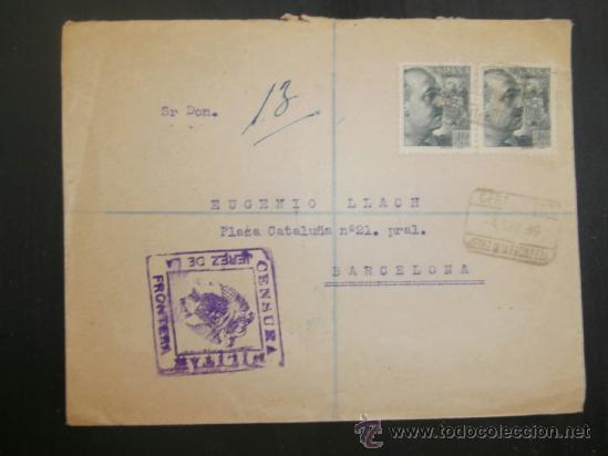 CIRCULADO 1939 DE BARCELONA A JEREZ DE LA FRONTERA CON CENSURA MILITAR (Sellos - España - Guerra Civil - De 1.936 a 1.939 - Cartas)