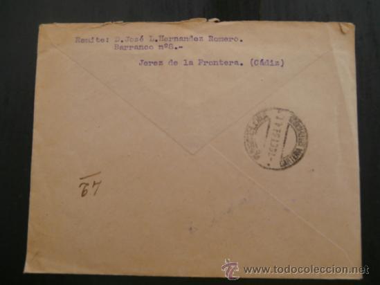 Sellos: circulado 1939 de barcelona a jerez de la frontera con censura militar - Foto 2 - 39017445