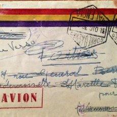 Sellos: SOBRE POR AVIÓN, ILUSTRADO CON BANDERA REPUBLICANA, CIRCULADO DICIEMBRE 1936, POSTAL, GUERRA CIVIL. Lote 39120591