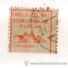 Sellos: VIÑETA. GUERRA CIVIL ESPAÑA. PARA LAS COCINAS ECONOMICAS DE HUELVA. CHARNELA . Lote 39396409