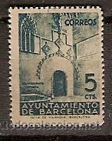 SELLO ESPAÑA BARCELONA EDIFIL 20 AÑO 1938 PUERTA GOTICA DEL AYUNTAMIENTO BARCELONA (Sellos - España - Guerra Civil - Locales - Nuevos)