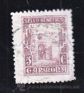 VIÑETA. GUERRA CIVIL ESPAÑA. SELLO BENEFICO. CARMONA, SEVILLA. CHARNELA (Sellos - España - Guerra Civil - Viñetas - Usados)