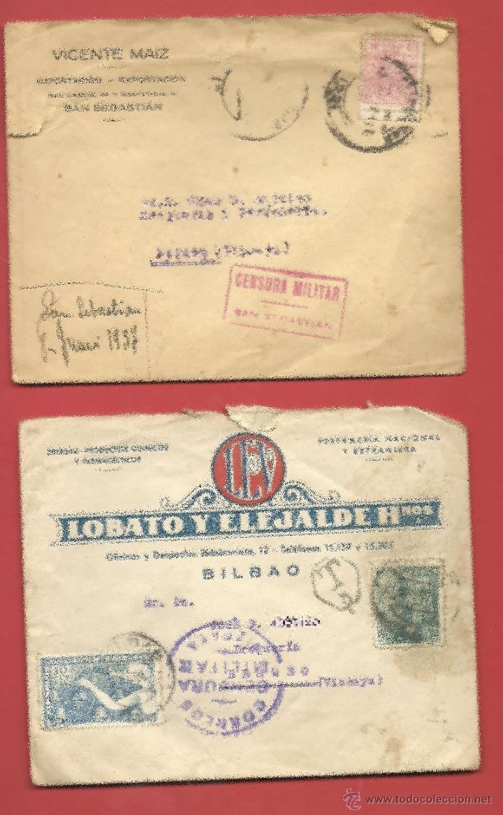GUERRA CIVIL ESPAÑOLA SOBRES CENSURA MILITAR PAIS VASCO EUSKADI (Sellos - España - Guerra Civil - De 1.936 a 1.939 - Cartas)