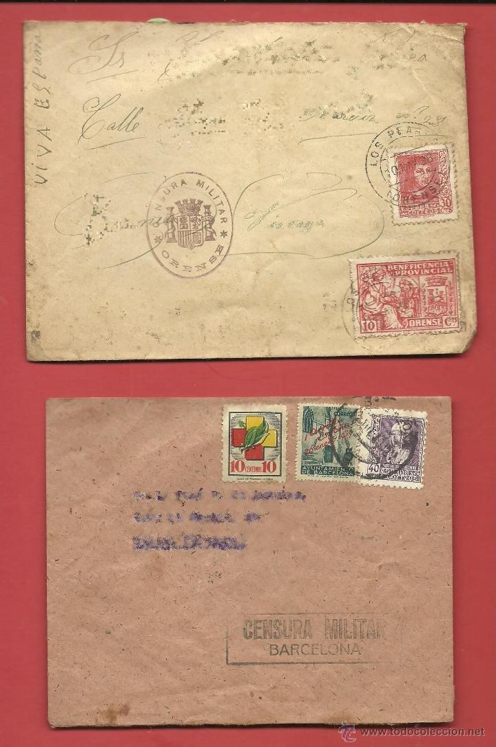 GUERRA CIVIL ESPAÑOLA SOBRES CENSURA MILITAR BARCELONA Y ORENSE DESTINO PAIS VASCO EUSKKADI (Sellos - España - Guerra Civil - De 1.936 a 1.939 - Cartas)