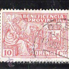 Sellos: VIÑETA. GUERRA CIVIL ESPAÑA. BENEFICIENCIA PROVINCIAL. ORENSE, GALICIA. CHARNELA. Lote 39914124