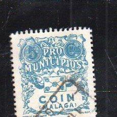 Sellos: VIÑETA. GUERRA CIVIL ESPAÑA. PRO MUNICIPIOS. COIN, MALAGA. CHARNELA. Lote 39914434