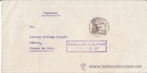 CENSURA MILITAR. BANDO NACIONAL, GIJÓN (ASTURIAS) (Sellos - España - Guerra Civil - De 1.936 a 1.939 - Cartas)