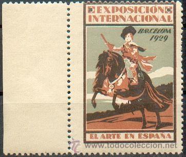 EXPOSICIÓN INTERNACIONAL DE BARCELONA 1929- EL ARTE EN ESPAÑA.- PRECIOSA Y GRAN VIÑETA (Sellos - España - Guerra Civil - Viñetas - Nuevos)