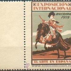Sellos: EXPOSICIÓN INTERNACIONAL DE BARCELONA 1929- EL ARTE EN ESPAÑA.- PRECIOSA Y GRAN VIÑETA. Lote 40056240
