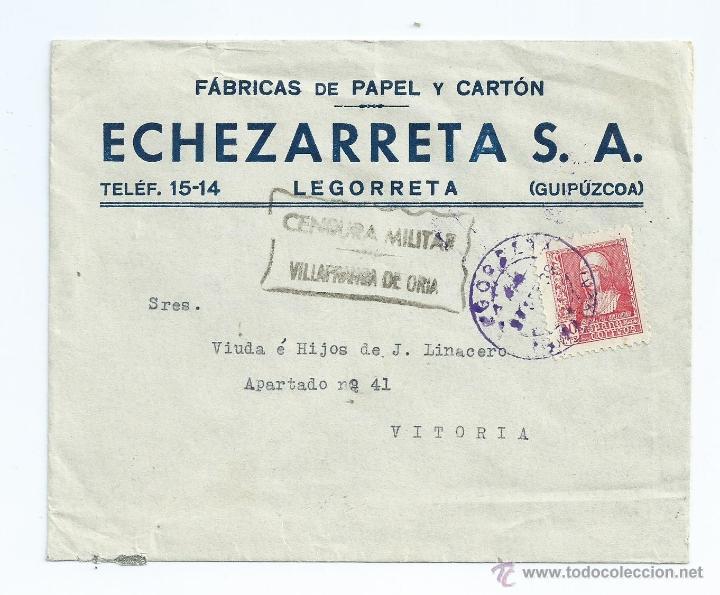 857. 30 CTS. EN CARTA DE LEGOMETA A VITORIA CON CENSURA DE VILLAFRANCA DE ORIA CON LLEGADA (Sellos - España - Guerra Civil - De 1.936 a 1.939 - Cartas)