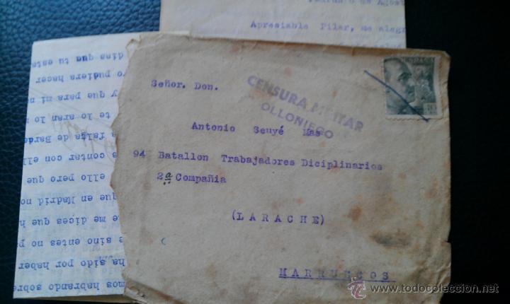 GUERRA CIVIL BATALLO DISCIPLINARIO LARACHE MARRUECOS CENSURA OLLONIEGO ASTURIAS GUARDIA CIVIL PADRUN (Sellos - España - Guerra Civil - De 1.936 a 1.939 - Cartas)