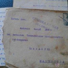 Sellos: GUERRA CIVIL BATALLO DISCIPLINARIO LARACHE MARRUECOS CENSURA OLLONIEGO ASTURIAS GUARDIA CIVIL PADRUN. Lote 40173723