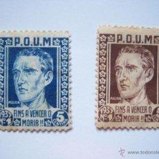 Sellos: JOAQUÍN MAURÍN. POUM. 2 SELLOS DE 5 CÉNTIMOS. BARCELONA, 1937, FINS A VENCER O MORIR!!. Lote 40174114