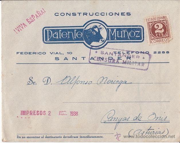 SOBRE PUBLICITARIO CON CENSURA MILITAR. SANTANDER 1938 A CANGAS DE ONÍS (ASTURIAS) (Sellos - España - Guerra Civil - De 1.936 a 1.939 - Cartas)